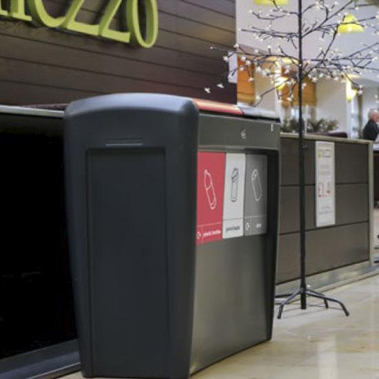 Тройная мусорная урна в помещениях EVO GLASDON