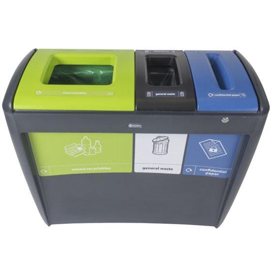 Тройная урна для сортировки мусора и бумаги EVO TRIO