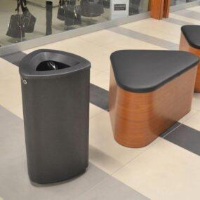черная металлическая мусорная урна для торгового центра Финбин