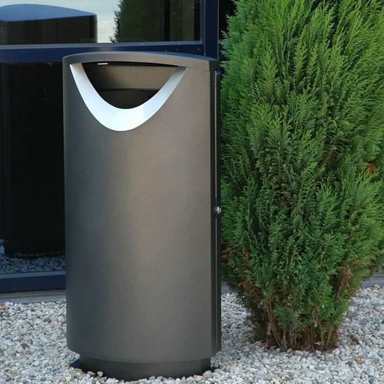 Черная мусорная урна Эллипс Фин Бин