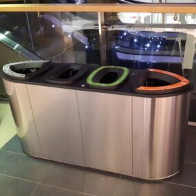 Нержавеющая урна для четырех типов мусора Бермуда