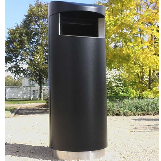 Мусорная черная урна на нержавеющем цоколе Юник ФинБин
