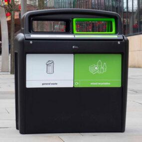Уличная антивандальная мусорная урна для раздельного сбора EVO city duo