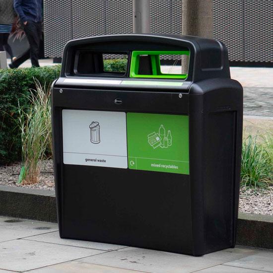 Урна для двух видов мусора на улице EVo city duo